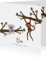 Geboortekaart met een lief ontwerp van een aapje en koala