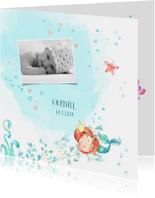 Geboortekaart met een slapende zeemeermin in waterverf look