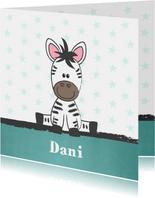 Geboortekaart met illustratie van een schattige baby zebra