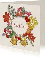 Geboortekaart met krans van vintage bloemen
