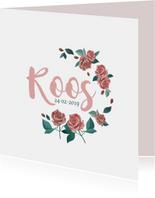 Geboortekaart met rozen