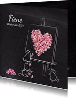 Geboortekaart muisjes roze hart