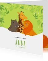 Geboortekaart Nijlpaard, giraf en leeuw groen