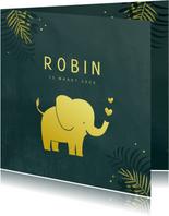 Geboortekaart olifant in goudlook