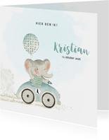 Geboortekaart olifant met ballon in auto