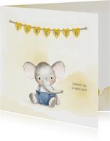 Geboortekaart olifantje jongen met naamhartjes