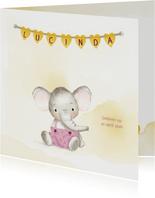 Geboortekaart olifantje meisje met naamhartjes