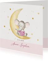 Geboortekaart olifantje op maan met sterren-meisje