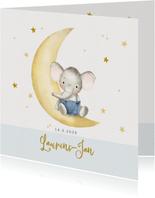 Geboortekaart olifantje op maantje met sterren-jongen