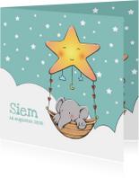 Geboortekaartjes - Geboortekaart olifantje Siem IH