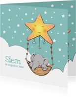 Geboortekaart olifantje Siem IH