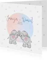 Geboortekaart olifantjes jongen en meisje tweeling