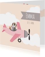 Geboortekaart pinguinvliegtuig meisje - HB