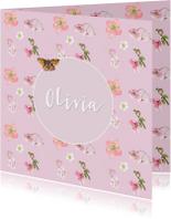 Geboortekaart  Roze bloemen vlinder