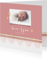Geboortekaart roze met rand dierenprint