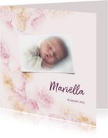 Geboortekaart roze/zalm met stippen en eigen foto