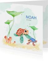Geboortekaart schilpad groot en klein met waterplanten