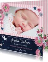 Geboortekaart Schoolbord bloemen
