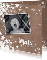 Geboortekaart stoere hippe fotokaart met sterren kraft-stijl