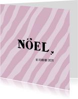 Geboortekaart stoere roze print