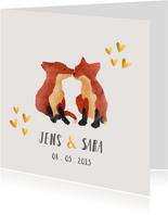 Geboortekaart tweeling vosjes dieren gouden hartjes
