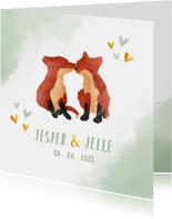 Geboortekaart tweeling vosjes jongen waterverf achtergrond