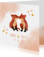 Geboortekaart tweeling vosjes meisje waterverf achtergrond