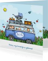 Geboortekaart VW bus blauw baby jongen met zusje