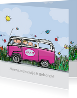 Geboortekaart VW bus broer en babyzusje