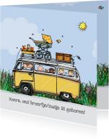 Geboortekaart VW bus geel klant