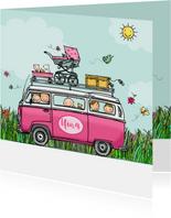 Geboortekaart VW bus roze hart twee broertjes