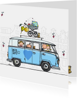 Geboortekaart VW bus T1 blauw zusje