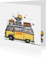 Geboortekaart VW bus zusje en baby klant