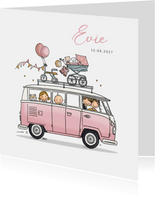 Geboortekaart vw busje roze met zusje