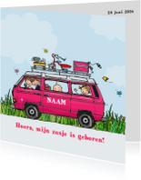 Geboortekaart VW T3 Joker roze