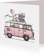 Geboortekaart VWbusje roze av