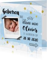 Geboortekaartjes - Geboortekaart waterverf blauw en goud