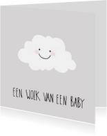 Felicitatiekaarten - Geboortekaart wolk van een baby