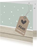 Geboortekaartje Abel hartjes