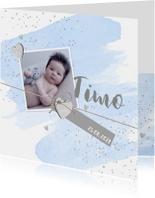 Geboortekaartje aquarel foto label hartjes blauw