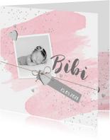 Geboortekaartje aquarel foto label hartjes roze