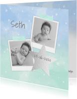 Geboortekaartje aquarel foto's ster jongen