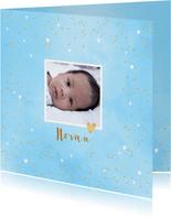 Geboortekaartje aquarel hartjes foto blauw