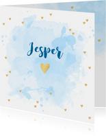 Geboortekaartje aquarel hartjes goud blauw