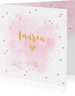 Geboortekaartje aquarel hartjes goud roze