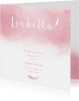 Geboortekaartje aquarel roze veertje