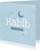 Geboortekaartje Arabisch patroon jongen sterren maan