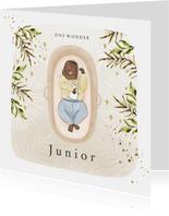 Geboortekaartje baby in mozesmandje botanisch