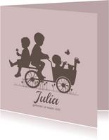 Geboortekaartjes - Geboortekaartje bakfiets met kinderen