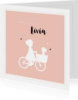 Geboortekaartje bakfiets zus met zusje vierkant silhouet
